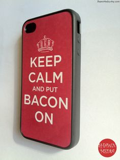 iPhone 4 Case Keep Calm Bacon On Outlet iPhone by KeepCalmCaseOn, 15.00