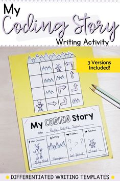 These writing prompts can be used to reinforce writing skills, story elements, sequencing and beginning coding skills. Each of the 3 templates can be differentiated based on the needs of your students. Start with a simple prompt, and move on to a more complex one. Literacy Skills, Literacy Centers, Writing Skills, Writing Prompts, Hands On Activities, Kindergarten Activities, Writing Activities, Story Elements, Math Lessons