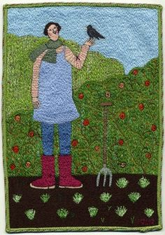 Linda Miller -  Spring Greens, Machine Embroidery 25x17cm