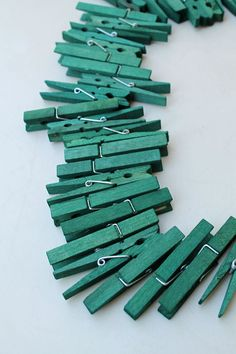 Green Clothespins  wooden clothespins  craft by TheWoodenBee