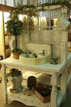 seen lots of versions.potting bench with old sink seen lots of versions.potting bench with old sinkseen lots of versions.potting bench with old sink Potting Bench With Sink, Potting Tables, Outdoor Spaces, Outdoor Living, Potting Station, Gas Station, Terrasse Design, Outdoor Sinks, Outdoor Garden Sink