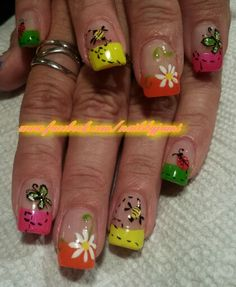 French tip with spring bugs. Follow me on my nail page at www.facebook.com/nailsbyjami and my Instagram at www.instagram.com/jamidnailsbyjami. #nailart #naildesigns #cutenails #nailartjunkie #nailpro #nailsmag #peoriailnailtech #uniquenails  #handpaintednails #frenchpolish #summernails #springnails #peoriail  #frenchtipnailart #bugnails