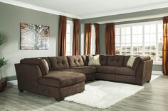 Ashley furniture Delta City-Chocolate Collection 19702 shelter arm Sectional Sofa santa ana ornage county los angeles, san diego california