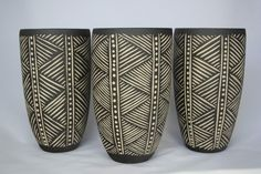 3 x white stoneware vase with incised black slip-sgraffito   # Pin++ for Pinterest #
