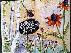 WILDFLOWERS2 | another wildflower journal page | Valerie Weller | Flickr Watercolor Journal, Floral Watercolor, Art Journal Pages, Art Journals, Journal Ideas, Altered Books, Art Sketchbook, Illustration Art, Illustrations