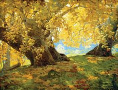blastedheath:  poboh Edgar Alwin Payne (American, 1883-1947), Sycamore in Autumn, c. 1917. Oil on board. Private collection.  Sycamore in Autumn, Orange County Park, c. 1917.