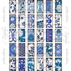 Asian Blue Porcelain 4 Digital Collage Sheet with by Digitalya