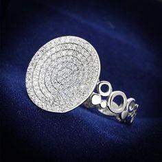 3CTW Micro Pave Circle Russian Lab Diamond Ring