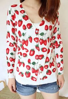 """$23.99 USD  [grzxy6600116]Sweet Fresh Strawberry Print Knit Cardigan   Style: Sweet/Fresh  Size: One Size: Length: 50CM(19.69"""" ) Shoulder: 34CM(13.39"""" ) Bust: 74CM(29.13"""" ) Sleeve Length: 53CM(20.87"""" )  Feature: Strawberry Print  Color: As picture  Material: Acrylic  Placket: Button Placket"""