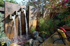 Matt Blashaw uses his yard magic to create exotic and unique water features. From amazing waterfalls to decorative ponds and fountains, here are 29 photos of stand-out backyard creations from Matt and the Yard Crashers crew. Yard Crashers, Outdoor Wall Fountains, Garden Fountains, Water Fountains, Fountain Garden, Fountain Ideas, Fountain Design, Modern Fountain, Rock Fountain