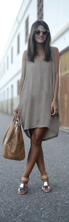 Summer Neutrals - love everything about this outfit! Although I'd carry a clutch instead of the oversized purse so that the dress doesn't overwhelm my petite frame.