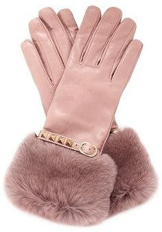 VALENTINO Rabbit Fur Trimmed Cuff Rockstud Leather Gloves