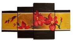 Karminowe strorczyki.  Akryl, ręcznie malowany na płótnie