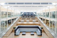 KWR Watercycle Research Institute - Nieuwegein, The Netherlands - Fokkema & Partners Architecten - Atrium Office Interior Design, Office Interiors, Interior Ideas, Atrium, Architecture Details, Interior Architecture, Phoenix Real Estate, Glass Pavilion, Innovation Centre