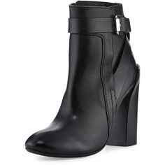 CoSTUME NATIONAL Strappy Leather Ankle Boot ($610) ❤ liked on Polyvore featuring shoes, boots, ankle booties, black, ankle strap booties, ankle boots, black leather bootie, black leather ankle booties and black high heel booties