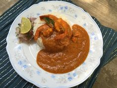 Parsi Prawn Red Curry plated