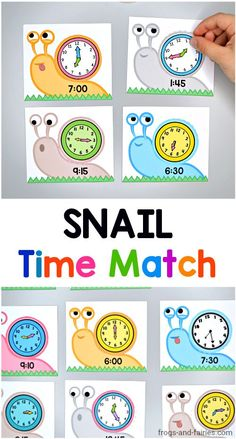 This Snail Time Match printable activity makes telling time practice exciting and fun for kids! Theyll be matching digital time snails with analog clock shells! It's a great activity for math centers, small group activity or homeschool practice. Telling Time Activities, Small Group Activities, Printable Activities For Kids, Teaching Time, Kindergarten Activities, Leadership Activities, Clock For Kids, Math For Kids, Creative Teaching