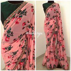 Trendy Sarees, Stylish Sarees, Fancy Sarees, Party Wear Sarees, Floral Print Sarees, Printed Sarees, Printed Blouse, Work Blouse, Chiffon Saree