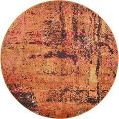 Unique Abstract Orange/Brown Round Rug, Size 6' x 6'