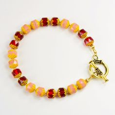Feminine Red and Pink Yellow-Tipped Czech Glass Bracelet Yellow Jewelry, Red Jewelry, Pink Yellow, Red And Pink, Small Planet, Bright Dress, Unusual Jewelry, Handmade Shop, Czech Glass