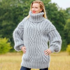 Gray Hand Knitted Cable Mohair Sweater Thick Fuzzy Pullover by Supertanya M L XL | eBay