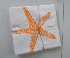 Tangerine Starfish Floursack Tea Towel #PinPantone