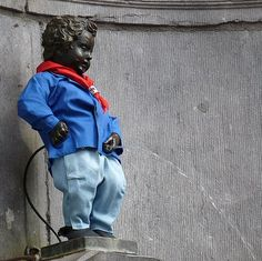 Manneken Pis Statue, Brussels, Belgium (I found out later that there is a predetermined schedule for his costumes; this is the May 1 costume he was wearing when we were there)