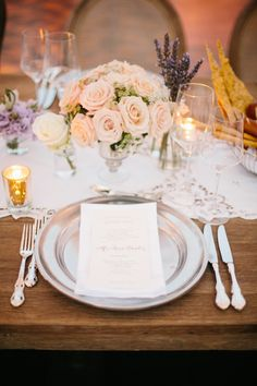 Elegant place setting | Photography: Heather Kincaid - heatherkincaid.com Read More: http://www.stylemepretty.com/california-weddings/2014/05/23/romantic-elegance-at-bel-air-private-estate/