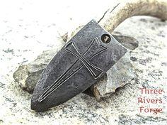 Crusader's Cross flint striker - blacksmith hand forged wrought iron steel camping bushcraft gear.