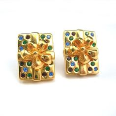 Swarovski Christmas Earrings Wrapped Present by AtticDustAntiques