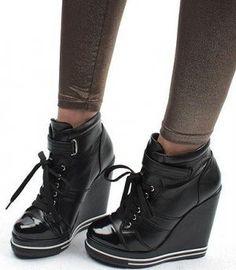 NEW* Wedge-Heels Sneakers Buckles Womens Shoes high black Sneaker High Heels, Nike High Heels, Wedge Heel Sneakers, Sneakers Mode, Black High Heels, Wedge Heels, Sneaker Wedges, Bootie Boots, Shoe Boots