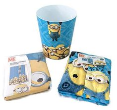 Despicable Me Minion 4 Piece Bath Set Shower Curtain, Bath Towel, Washcloth, Wastebasket Trash Can Bundle Bathroom Set Despicable Minions, Cute Minions, Minion Movie, My Minion, Bathroom Decor Sets, Bathroom Kids, Downstairs Bathroom, Minion Birthday, Minion Party