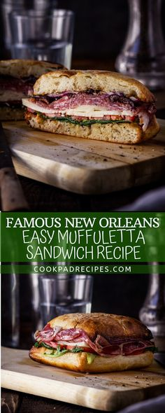 Easy Sandwich Recipes, Healthy Sandwiches, Soup And Sandwich, Quick Dinner Recipes, Simple Recipes, Muffuletta Recipe, Muffuletta Sandwich, Seafood Recipes, Gourmet Recipes