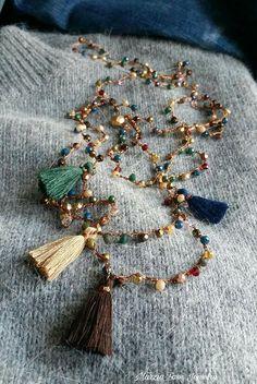 Multicolor necklace crochet bracelet plus turns rosary style boho chic thread bronze tassels and charm Tassel Jewelry, Fabric Jewelry, Beaded Jewelry, Jewelery, Jewellery Box, Crochet Bracelet, Bead Crochet, Boho Chic, Bijoux Diy