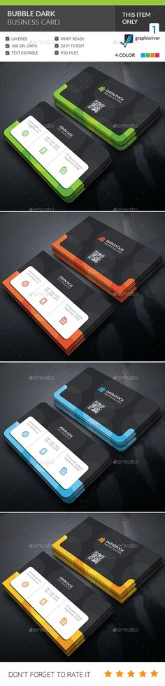 Bubble Dark Business Card Template PSD. Download here: https://graphicriver.net/item/bubble-dark-business-card-/17452246?ref=ksioks
