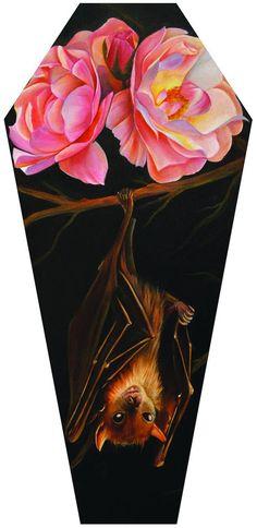 Rose & Bat by Noel Terracina Flower Gothic Coffin Canvas Art Print – moodswingsonthenet