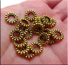 Large Hole Spacer Beads, Antique Gold Big Hole Spacers (20)