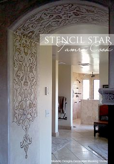 This gorgeous arch entry has one our of Modello™ Eastern Panel vinyl stencils (EasPan105) and the inspired touch of California's @Tamra Cook. www.ModelloDesigns.com