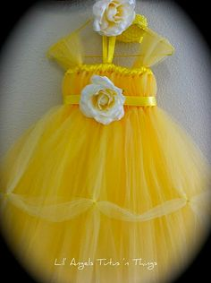 belle dress tutu because they will have no choice but to love my favorite Disney movie ; Belle Tutu, Belle Dress, Princess Tutu Dresses, Flower Girl Dresses, Little Girl Costumes, Robes Tutu, Graduation Diy, Fairy Dress, Costume Dress