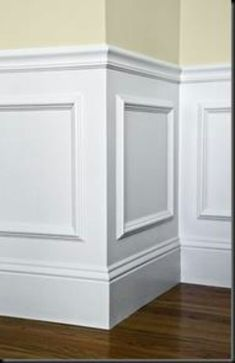 Inexpensive Wainscott look...use photo frames.