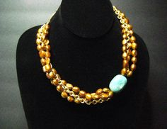 Multistrand Pearl and Chain and Chunky Turquoise by zoeJaneJewels1, $45.00