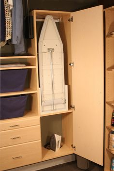 Bathroom closet storage ironing boards New Ideas Laundry Room Layouts, Laundry Room Storage, Laundry Room Design, Closet Storage, Laundry Closet, Small Laundry, Laundry Rooms, Bathroom Storage, Ironing Board Storage