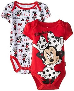 Disney Baby Girls Minnie Mouse 2 Pack BodysuitFabulous Red 03 Months -- Details can be found by clicking on the image. Cute Baby Girl Outfits, Baby Girl Shoes, Toddler Outfits, Kids Outfits, Disney Baby Clothes, Baby Kids Clothes, Baby Disney, Baby Girl Newborn, Baby Girls