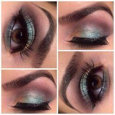 "✨✨ Products used: 1⃣ Primer: Nyx jumbo eye pencil ""Milk"" 2⃣ Inner lid: Nyx pearl pigment ""Yellow Gold"" 3⃣ Mid Lid: BH Cosmetics ""Turquoise""  4⃣ Crease: Anastasia Beverly Hills ""Sienna""  5⃣ Outer V: BH Cosmetics ""Plum Purple""  6⃣ Brow Highlight: Urban Dec"