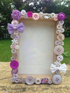 Button and Silk Flower Frame