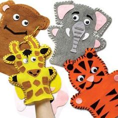 Who said animals can't talk? You can make these ones sing and dance too! Felt hand puppets for children to sew and decorate. Each kit contains pre-cut felt puppet, felt pieces, wiggle-eyes, plastic needle and wool. Assorted designs - monkey, tiger, elephant and giraffe.