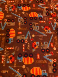 Construction Print Fleece Blanket by TwoHeartsbyAmanda on Etsy, $25.00