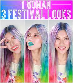 1 Woman, 3 Daring Festival Makeup Looks