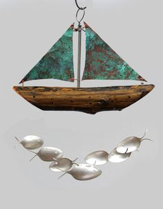 Driftwood w/ Green Copper Sails Sailing boat Spoon by NevaStarr
