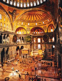 """Hagia Sophia, the exquisite mosque turned museum in the old City of Istanbul. This used to be the """"mother church"""" of the Greek Eastern Orthodox church until the Turks/Muslims took it over about The construction started under Emperor Constantine in 537 AD. Oh The Places You'll Go, Great Places, Places To Travel, Beautiful Places, Places To Visit, Hagia Sophia Istanbul, Between Two Worlds, Around The Worlds, Turkey Culture"""